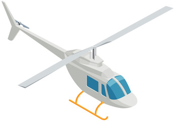 Isometric Helicopter on White Background.
