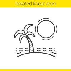 Tropical island linear icon
