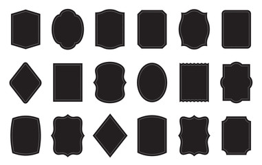 Set of product label templates. Different shapes. Cosmetic or food packaging