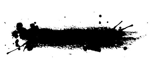 Isolated ink spot on white background. Black paint splash illustration.