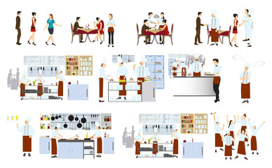 Chefs on the kitchen on white background. Restaurant kitchen interior with staff and visitors.
