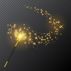 Vector golden magic wand with glow light effect on transparent background.