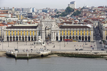 View from the River Tagus of the vast Praca do Comercio (Commercial Square) in Lisbon, Portugal