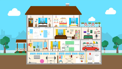 House interior set. Outside the house. Bedroom and kitchen, bathroom and garage, gym and more.