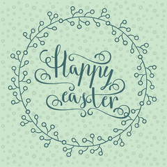 hand calligraphic font with happy Easter text