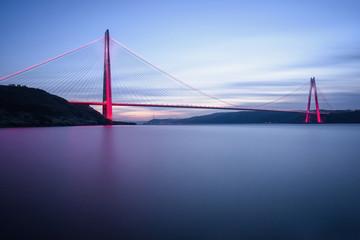 New bridge of Istanbul, Yavuz Sultan Selim Bridge with long exposure.