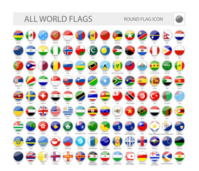 Round World Flags Vector Collection