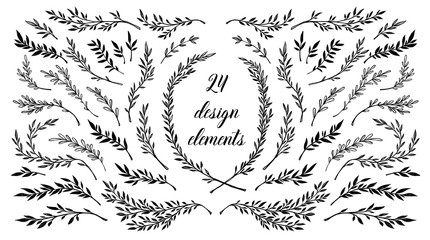 Hand sketched vector vintage elements ( laurels, frames, leaves, flowers, swirls, feathers). Wild and free. Perfect for wedding invitations, greeting cards, quotes, blogs, posters.