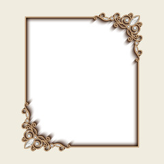 Vintage gold photo frame with jewelry corner decoration