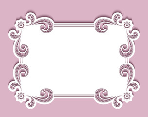 Rectangle card, cutout paper frame with lace border