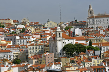 View from the River Tagus of the colorful hilly Lisbon, Portugal