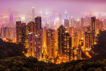 aerial view of Hongkong at night