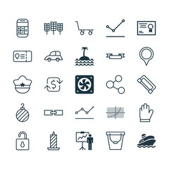Set Of 25 Universal Editable Icons. Can Be Used For Web, Mobile And App Design. Includes Elements Such As Carpentry, Computer Ventilation, Auto Car And More.