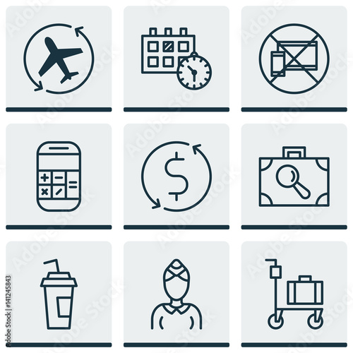 Set Of 9 Transportation Icons Includes Appointment Hostess Drink