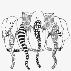 Set of art elephants.