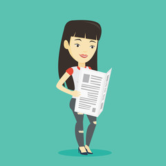Woman reading newspaper vector illustration.