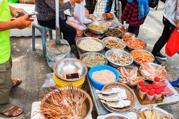 market stall with seafood in Tai O, Hongkong