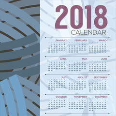2018 Printable Calendar Starts Sunday Vector Illustration