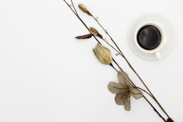 coffee cup with paper flower on white paper background.