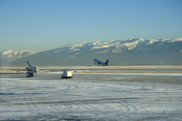 Airplane Taking Off, Salt Lake City Airport, Utah