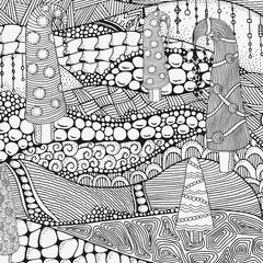 Artistically winter, christmas, ethnic pattern