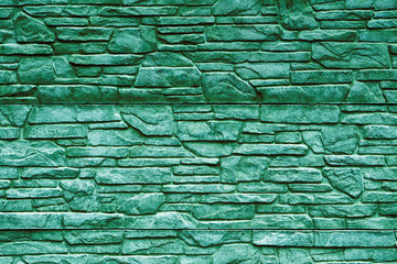 Turquoise stone brick wall detailed contrast texture background