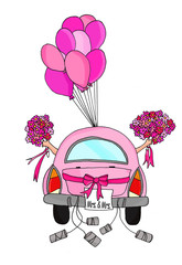 Two brides in a pink car