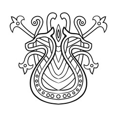 Ethnic abstract pattern with dragons. Vector illustration isolated on white background for tattoo designs or wallpapers.