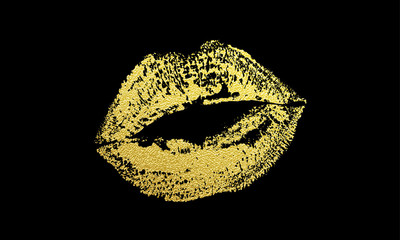 Gold kiss lips imprint vector golden glitter lipstick print
