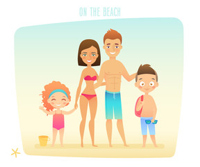 Wall Mural - Family on the beach.