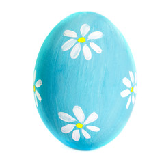 Colorful Egg isolated on white background close up. Happy Easter Handmade painted color Egg
