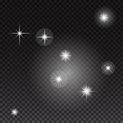 Glowing lights and stars on transparent background