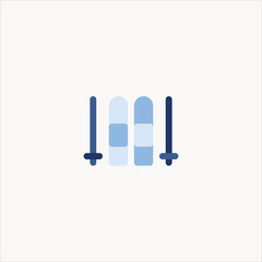 Ski. Single flat color icon. Vector illustration.