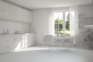 White kitchen with green landscape in window. Scandinavian interior design. 3D illustration