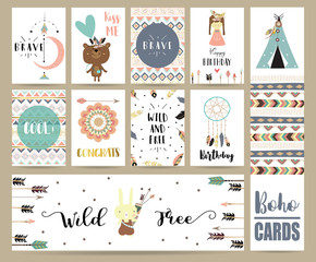 Card template collection for banners,Flyers,Placards with feather,girl,bear,tent and arrow in boho style