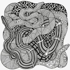Artistically snakes.