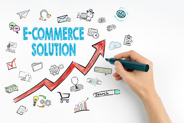 E-Commerce Solution, Business Concept. Hand with marker writing.