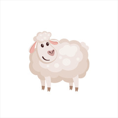 Cute lamb in flat style.