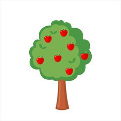 Green Apple tree full of red apples