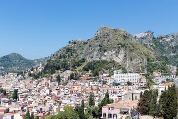 Aerial view of Taormina, historic city at the Sicilian coast