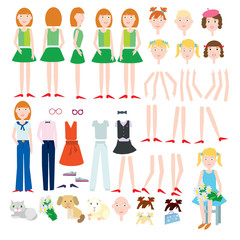 Flat vector set of girls for animation. Different hairstyles and hair colors. Different clothing options. Vector illustration. Face and body elements for design work.