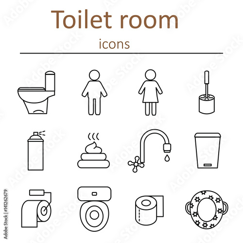 quoticons of the toilet room in the style of the outline