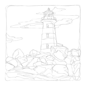 marine life line art continuous line drawing coloring page