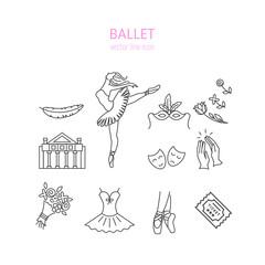 Ballet icons set