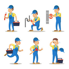 Plumber Cartoon Character Set. Repairman with Wrench. Vector illustration