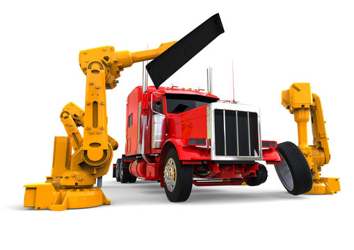 American truck assembly line  / 3D render image representing an american truck assembly line with robots