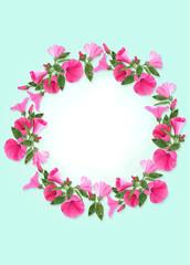 Pink floral wreath.