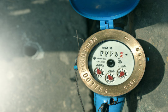 Close up water meter blue color in thailand.
