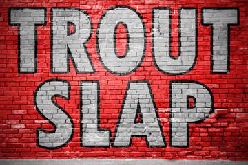 Trout Slap Ziegelsteinmauer Graffiti