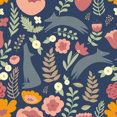 Wolves and colorful stylized flowers. Seamless pattern